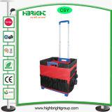 Carro Foldable plástico da bagagem do trole da compra da caixa do rolamento