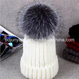 Sombreros grandes verdaderos del invierno de la gorrita tejida de la piel POM POM del mapache del sombrero de piel del invierno de las muchachas de las mujeres