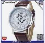 Relojes automáticos esqueléticos de oro de gama alta de la venda de reloj del cuero genuino de los relojes de los hombres del nuevo diseño Yxl-838 2016