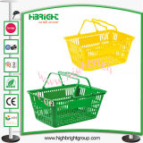 Doppelter Griff-Plastikeinkaufskorb für Supermarkt