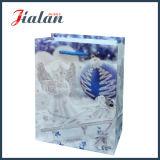 Personnaliser le sac stratifié lustré de cadeau d'emballage de Noël de scintillement de papier d'art