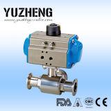 Vávula de bola de tres vías sanitaria manual de Yuzheng