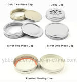 vasi di muratore di vetro di 4oz/8oz 12oz/16oz/26oz/32oz con oro/argento/coperchi bianchi/neri del metallo
