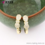 女性90166のための方法Newest Products 14kの金Plated Charming Crystal Bowknot Hoop Earring