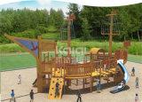 Campo da giuoco esterno dei bambini di legno della barca di Kaiqi con lo scalatore e le trasparenze come pure l'altro Acitvities (KQ60082A)
