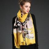 Lenço longo do silencioso do amarelo da impressão de Digitas do teste padrão do tigre de lãs das mulheres