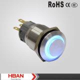 Interruptores de pulsador impermeables del anillo 220V LED del alto de la pista IP67 del diámetro 19m m nivel de la protección