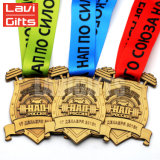 Förderung personifizierte den Zoll 3D, der Gussteil-Meisterschaft-Andenken-Preis-Sport-Antike-Metallmedaille mit kundenspezifischem Farbband stempelt