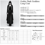 Revestimentos de vestido pretos longos de veludo das mulheres largas góticos da luva do bordado Y-797