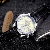Reloj de cristal azul del cuarzo del diseño H384 del reloj impermeable único de los hombres para los hombres