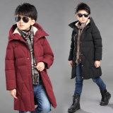 男の子の冬のフード付きの長いジャケットに塗る