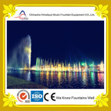 Fontana di acqua decorativa con gli ugelli subacquei nel lago park