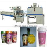 Machine automatique d'emballage en papier rétrécissable d'écoulement de tasse de thé de lait de commande de moteur servo