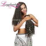 Изумительный глубокие курчавые первоначально человеческие волосы бразильянина девственницы