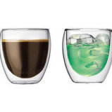 Uovo Shaped Double Wall Mouth Blowing 250ml High Borosilicate Glass Cup