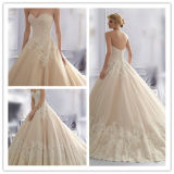 Qualité Luxury un Line Sweetheart Cap Sleeve Layered Organza Skirt Lace Wedding Dresses à Dubaï (MN1054)