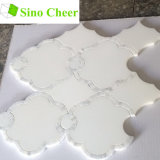 Modelos de mosaico Waterjet de mármol blancos artificiales Polished para las paredes