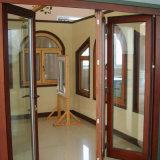Porta Bi-Fold da cor de madeira sadia da vitrificação dobro UPVC/PVC da prova