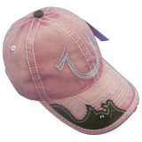 Пинк помыл бейсбольную кепку с кожаный Applique Gjwd1713