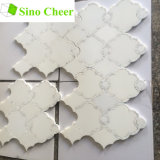 Configurations de mosaïque Waterjet de marbre blanches artificielles Polished pour des murs