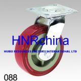 Rote PU-industrielle Schwenker-Hochleistungsfußrolle