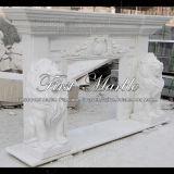 Camino di marmo bianco del leone di Carrara per la decorazione domestica Mfp-231