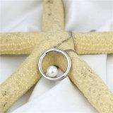 大きい円の銀の自然で簡単な真珠のペンダント