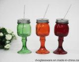 Choc de maçon en verre de diverses couleurs avec le couvercle de fer blanc