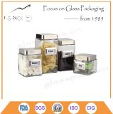 Ensemble de 4 Square Glass Canister pour Coffee, Pasta, Tea et Sugar Packing