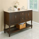 Cabina de cuarto de baño de madera simple del fregadero doble
