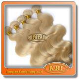 Onda do corpo das extensões do cabelo 613# louro do cabelo brasileiro