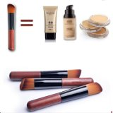 Cepillo de múltiples funciones anguloso del maquillaje con la maneta de madera