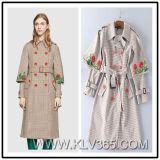 Herbst-Winter-Form-Kleidungs-Frauen-Blumen-Druck-Doppeltes Breasted langer Mantel