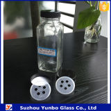 Tarro de vidrio de 4 oz de pimienta cuadrada con tapa de especias de 43 mm