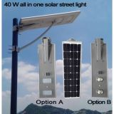 Avaliação solar Integrated 40W todo da luz IP65 do sensor de movimento da venda quente em uma luz de rua solar com Pólo