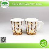 2015 Cafe popular Hot Coffee Paper Cups para 7oz con Handle