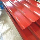 Difícilmente/el PE acanalado PVDF de los azulejos de azotea del acero de hojas de acero del material suavemente de acero cubierto