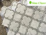Modelo de mármol Waterjet del suelo del diseño de los azulejos de mosaico de Carrara