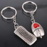 Tastiera del metallo e mouse placcati argento Keychain