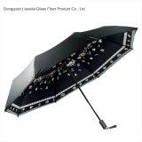 小型パラソルの女性ガラス繊維フレームが付いている紫外線傘の花の傘