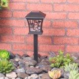 Angeschaltenes schwarzes Solar-LED Solarplastiklicht des Garten-