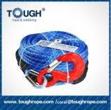 le synthétique sans fin de corde de treuil de constructeur de 7mm*15m avec la cosse d'acier inoxydable, blocage d'extrémité avec la courroie de bâton, 1m protègent la chemise