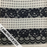 Tela de nylon do laço do algodão colorido da listra
