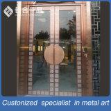 Portello d'acciaio dorato anteriore personalizzato di qualità superiore di Entrace Sainless con il blocco per grafici