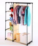 Stand d'étagère de crémaillère de vêtement de tissu de garde-robe de tissu d'Amjsjw014b