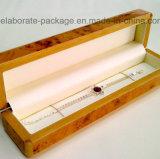 Venta al por mayor de madera natural sólida del rectángulo de regalo del embalaje de la joyería