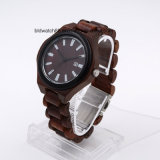 Шкалы вахты кварца людей Wristwatch деревянной круглой сетноой-аналогов Handmade деревянный