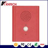 Las manos liberan el teléfono Emergency Knzd-13 del teléfono de los teléfonos industriales del elevador