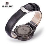 Belbi Mann-Uhr-beiläufiges Form-Serien-Leder-wasserdichte Legierungs-Quarz-Uhr