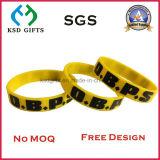 Bracelet estampé par logo fait sur commande, bracelet amical de mode de silicones d'Eco